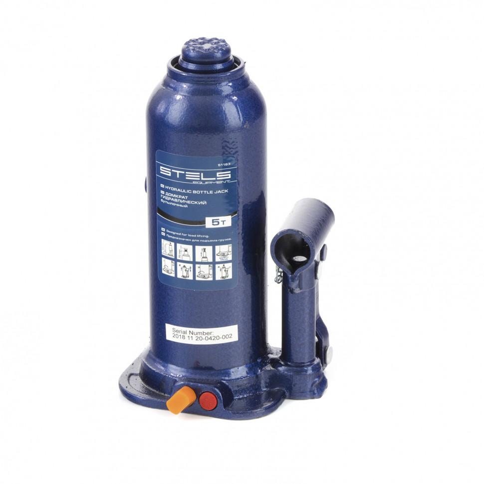 Домкрат гидравлический бутылочный 5 т подъем 207-404 мм STELS 51163, фото , изображение 2 - Метэкс