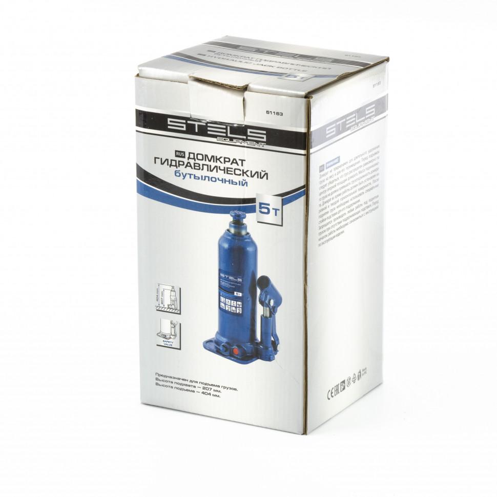 Домкрат гидравлический бутылочный 5 т подъем 207-404 мм STELS 51163, фото , изображение 3 - Метэкс