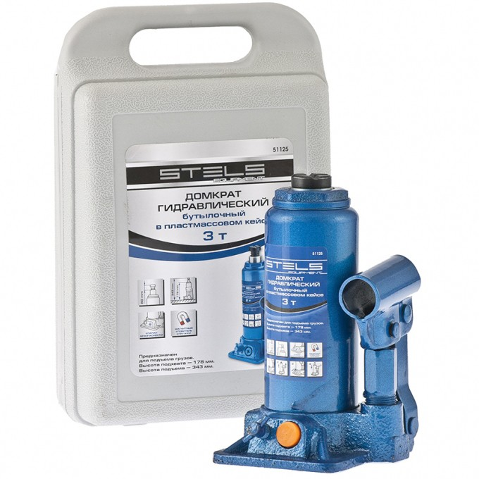 Домкрат гидравлический бутылочный 3 т подъем 178-343 мм пластиковый кейс STELS 51125, фото - Метэкс