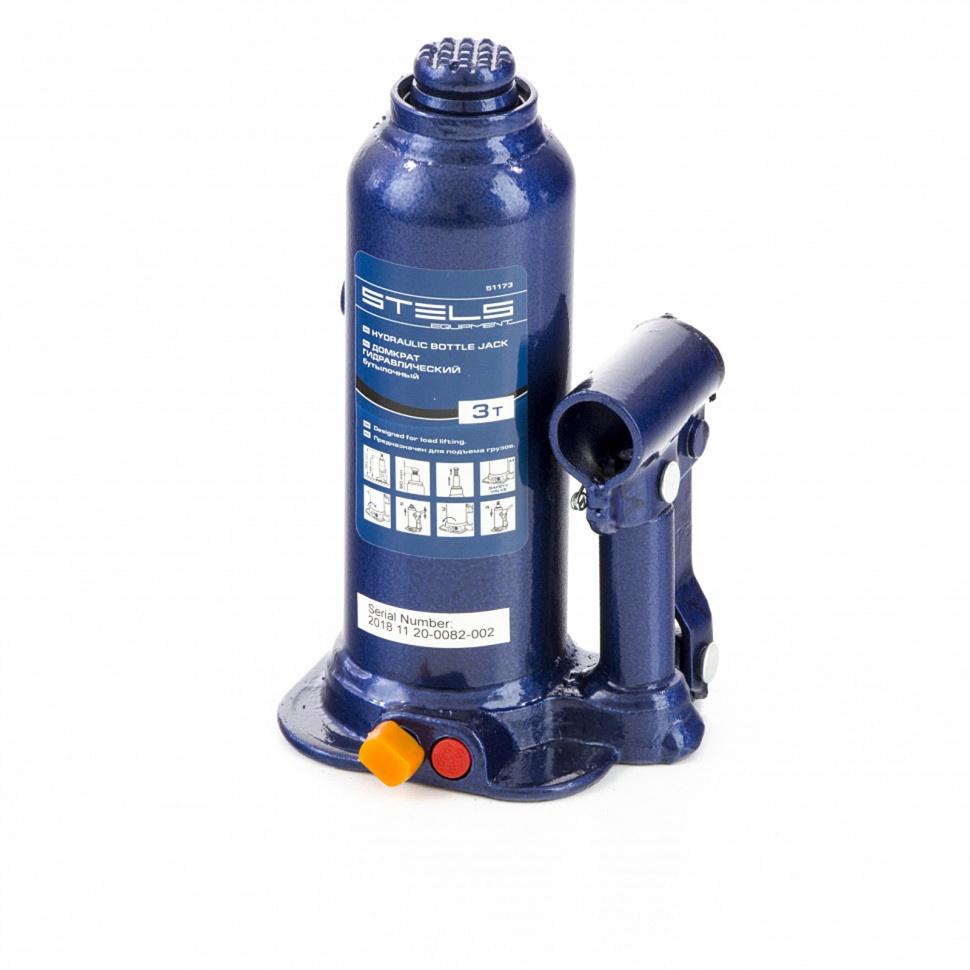 Домкрат гидравлический бутылочный 3 т подъем 188-363 мм пластиковый кейс STELS 51173, фото , изображение 2 - Метэкс