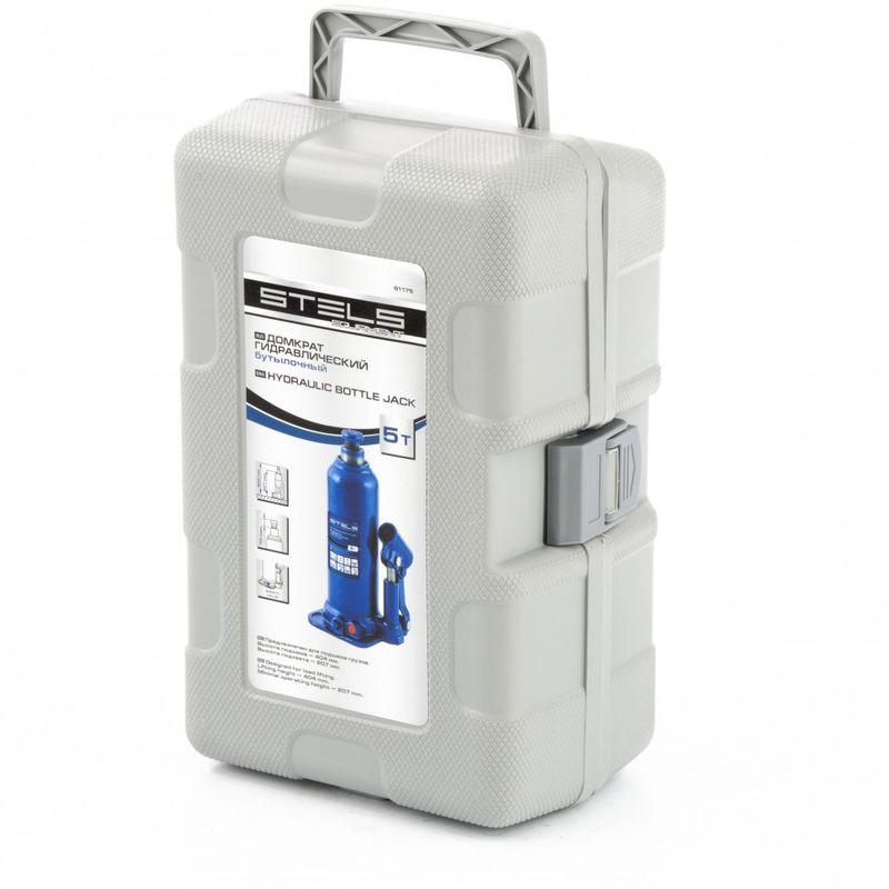 Домкрат гидравлический бутылочный 5 т подъем 207-404 мм пластиковый кейс STELS 51175, фото , изображение 3 - Метэкс