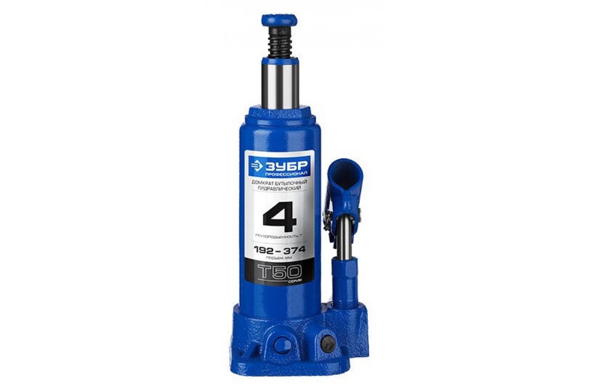 Домкрат гидравлический бутылочный 4 т подъем 192-374 мм ЗУБР 43060-4_z01, фото , изображение 2 - Метэкс