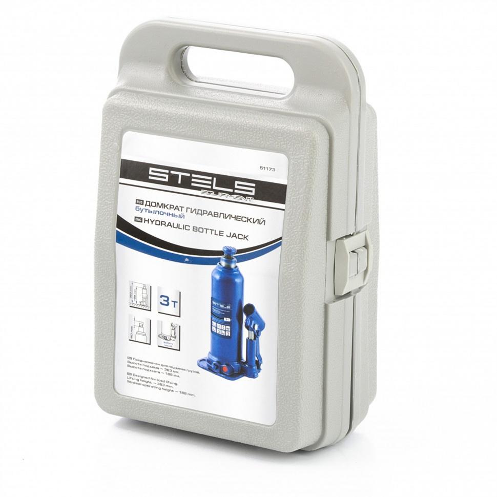 Домкрат гидравлический бутылочный 3 т подъем 188-363 мм пластиковый кейс STELS 51173, фото , изображение 4 - Метэкс