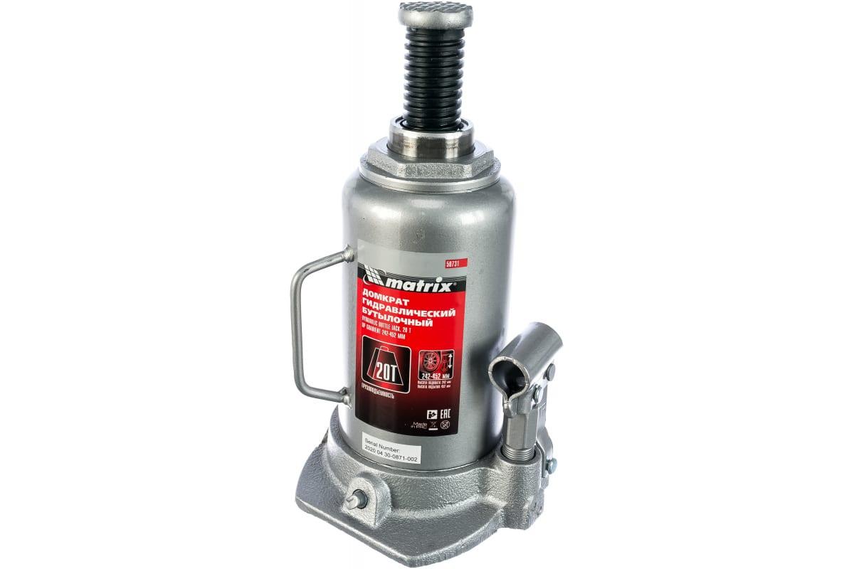 Домкрат гидравлический бутылочный 20 т подъем 242-452 мм MATRIX 50731, фото , изображение 2 - Метэкс