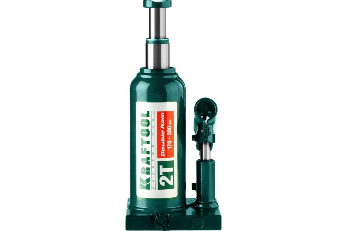 Домкрат гидравлический бутылочный 2 т подъем 170-380 мм Double Ram KRAFTOOL 43463-2, фото , изображение 3 - Метэкс