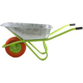 Тачка одноколесная грузоподъемность 180 кг объем 90 л садово-строительная колесо полиуретан Сибртех, фото - Метэкс