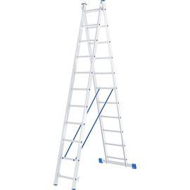 Лестница 2 х 11 ступеней алюминиевая двухсекционная длина 5,06 м СИБРТЕХ 97911, фото  - Метэкс
