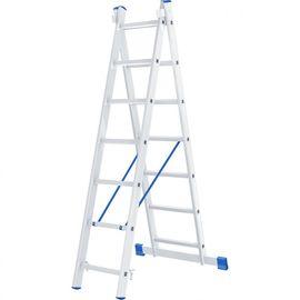 Лестница 2 х 7 ступеней алюминиевая двухсекционная длина 3,08 м СИБРТЕХ 97907, фото  - Метэкс