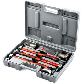 Набор рихтовочный 3 молотка с фибергласовыми ручками 4 наковальни пластиковый бокс MATRIX 10845, фото  - Метэкс