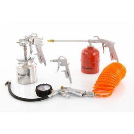 Набор пневмоинструмента 5 предметов быстросъемное соединение, краскорасп. с нижним бачком, фото  - Метэкс