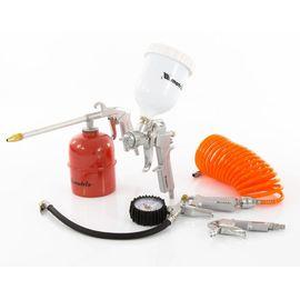 Набор пневмоинструмента 5 предметов быстросъемное соединение, краскорасп. с верхним бачком, фото  - Метэкс