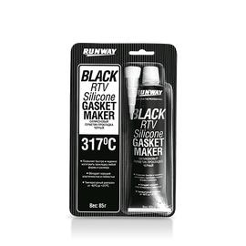 Силиконовый герметик-прокладка (черный) RUNWAY RW8501, фото  - Метэкс