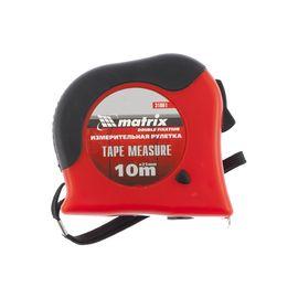 Рулетка 10 м х 25 мм Double fixation обрезиненный корпус двойная плавная фиксация MATRIX 31061, фото  - Метэкс