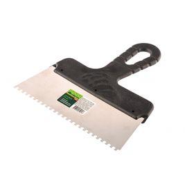 Шпатель из нержавеющей стали 200 мм зуб 4 х 4 мм пластмассовая ручка СИБРТЕХ 85456, фото  - Метэкс
