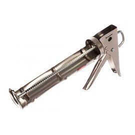 """Пистолет для герметика 310 мл """"полуоткрытый"""" хромированный зубчатый шток 7 мм MATRIX 88640, фото - Метэкс"""