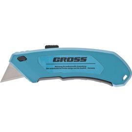 Нож 130 мм алюминиевый корпус выдвижное трапецевидное лезвие 18 мм GROSS 78899, фото  - Метэкс