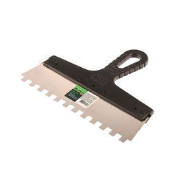 Шпатель из нержавеющей стали 250 мм зуб 10 х 10 мм пластмассовая ручка СИБРТЕХ 85500, фото  - Метэкс