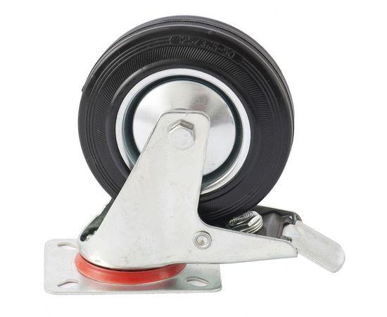 Колесо поворотное с тормозом d-125мм, крепление платформенное, фото - Метэкс