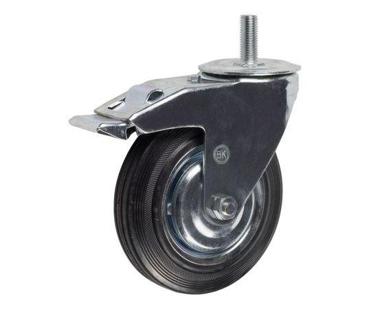 SCtb55 (18) Ролик поворотный с болтом, с торм. диам. 125 мм (100 кг), фото - Метэкс