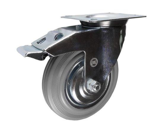SCb55f (18) Ролик поворотный с торм. диам. 125 мм (100 кг), фото - Метэкс