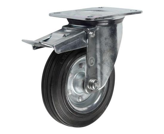 SRCb55 (43) Ролик поворотный с тормозом диам. 125 мм (140 кг), фото - Метэкс